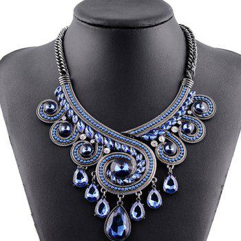 Retro Rhinestone Hollow Out Water Drop Pendant Necklace