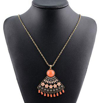 Rhinestone Blossom Fan Shape Hollow Out Pendant Necklace