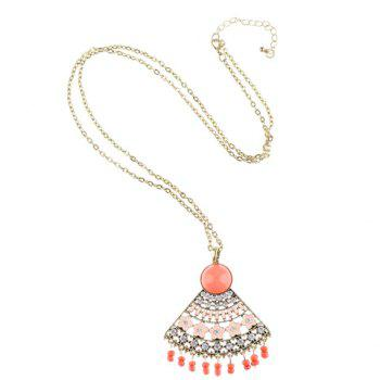Rhinestone Blossom Fan Shape Hollow Out Pendant Necklace - GOLDEN