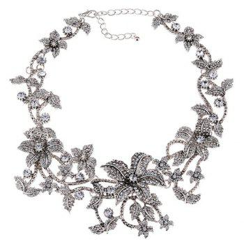 Retro Rhinestone Floral Hollow Out Necklace - SILVER WHITE