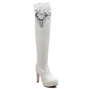 Simple Lace and PU Leather Design Thigh Boots For Women