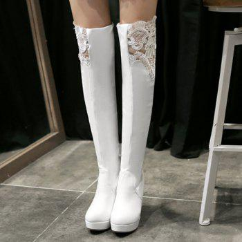 Simple Lace and PU Leather Design Thigh Boots For Women - WHITE 39