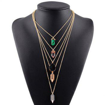 Faux Resin Multilayered Pendant Sweater Chain - GOLDEN GOLDEN