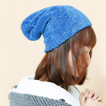Chic Solid Color Women's Downy Winter Beanie - SAPPHIRE BLUE
