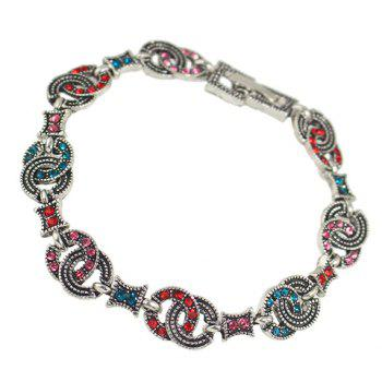 Ethnic Rhinestone Round Hollow Out Bracelet - RED