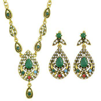 A Suit of Retro Rhinestone Water Drop Necklace and Drop Earrings