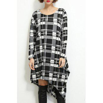 Concise Long Sleeve Plaid Printed Asymmetric T-Shirt Dress For Women
