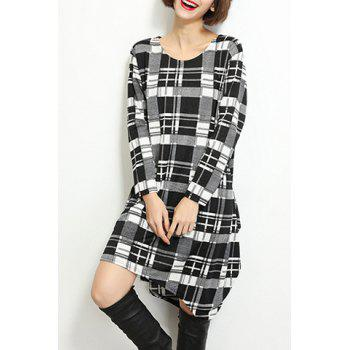 Concise Long Sleeve Plaid Printed Asymmetric T-Shirt Dress For Women - BLACK ONE SIZE(FIT SIZE XS TO M)