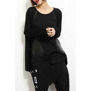 Stylish Faux Glove Shape Pocket Design Irregular Black T-Shirt For Women