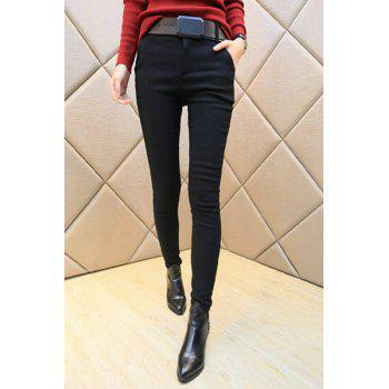 Flocking Embroidered Skinny Pants For Women
