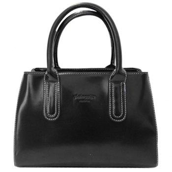 Retro Style Stitching and Patent Leather Design Tote Bag For Women
