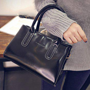Retro Style Stitching and Patent Leather Design Tote Bag For Women - BLACK