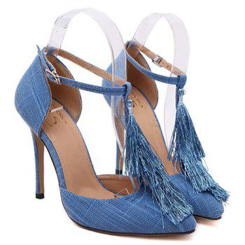 Sexy T-Strap and Tassel Design Pumps For Women - 38 38