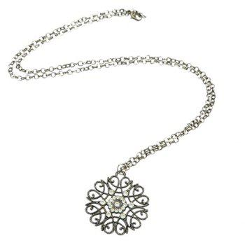 Rhinestone Filagree Flower Sweater Chain