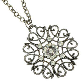 Rhinestone Filagree Flower Sweater Chain -  BLACK