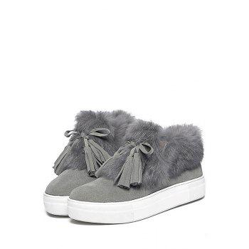 Casual Faux Fur and Tassels Design Women's Ankle Boots - GRAY 36