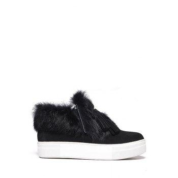 Casual Faux Fur and Tassels Design Women's Ankle Boots