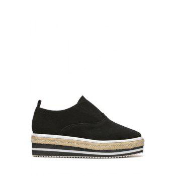 Concise Stitching and Weaving Design Women's Platform Shoes - BLACK 37