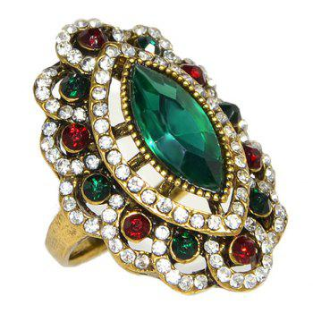 Fake Crystal Floral Shaped Ring - GREEN ONE-SIZE