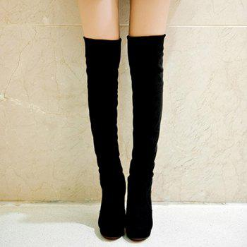 Preppy Style Suede and Slip-On Design High Heel Boots For Women - BLACK 39