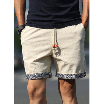 Straight Let Floral Print Purfled Lace-Up Men's Cotton+Linen Shorts - KHAKI 6XL