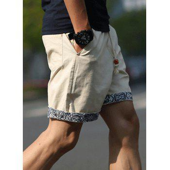 Straight Let Floral Print Purfled Lace-Up Men's Cotton+Linen Shorts - 6XL 6XL