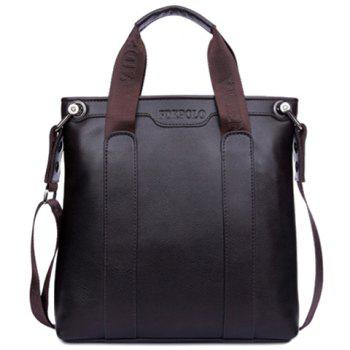 Fashionable Solid Colour and Zipper Design Briefcase For Men - BROWN BROWN