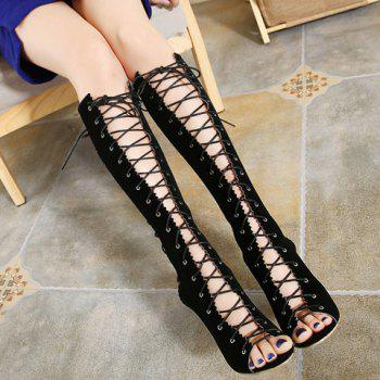 Fashion Hollow Out and Lace-Up Design Mid-Calf Boots For Women - BLACK 37