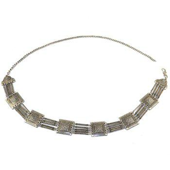 Rectangle Hollow Out Body Chain - SILVER GRAY