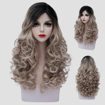 Fluffy Curly Synthetic Elegant Black Flax Ombre Fashion Long Universal Cosplay Wig For Women