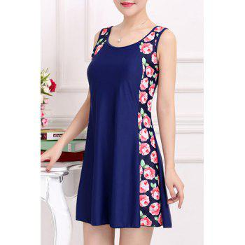 Stylish Women's Scoop Neck Sleeveless Floral Print One-Piece Swimsuit - PURPLISH BLUE 3XL