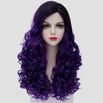 Gorgeous Black Purple Ombre Fashion Long Curly Universal Women's Costume Play Wig