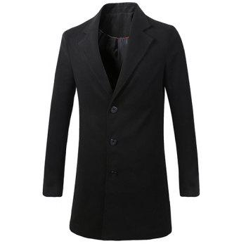 Men's Casual Turn Down Collar Solid Color Single Breasted Trench Coat