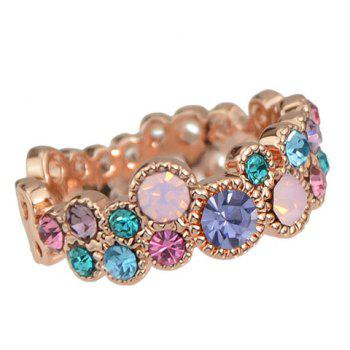 Colored Rhinestoned Geometric Ring