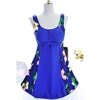 Chic Scoop Collar Plus Size Floral Print One-Piece Women's Swimwear