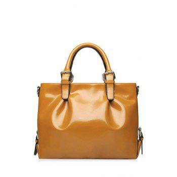 Trendy Buckle Strap and Solid Color Design Women's Tote Bag