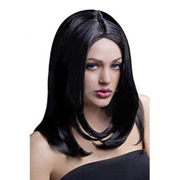 Fluffy Straight Tail Adduction Elegant Medium Synthetic Stylish Middle Part Women's Cosplay Wig
