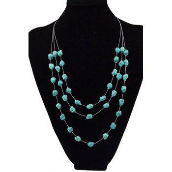 Charming Multilayered Faux Turquoise Sweater Chain For Women - GREEN GREEN
