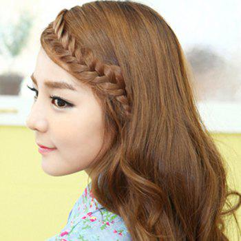 Charming Long Heat Resistant Fiber Clip In Handmade Women's Braided Hair Extension -  LIGHT BROWN