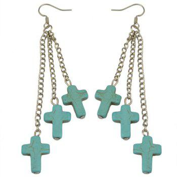 Pair of Faux Turquoise Cross Shape Drop Earrings