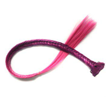Fashion Deep Purple Ombre Rose Synthetic Long Clip In Fishbone Braided Hair Extension For Women