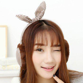 Chic Cute Bow Embellished Stripe Pattern Downy Earmuff For Women
