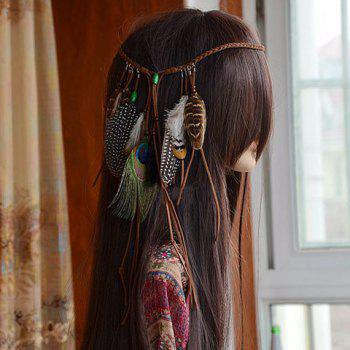 Charming Woven Rope Feather Hairband For Women - ORANGE
