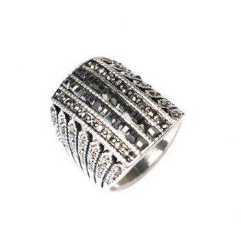 Chic Rhinestone Hollow Out Ring For Men - BLACK BLACK