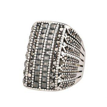 Chic Rhinestone Hollow Out Ring For Men - BLACK ONE-SIZE