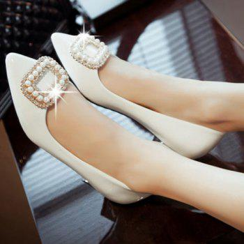 Trendy Beading and Square Buckle Design Flat Shoes For Women - WHITE 34