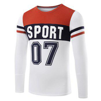 Slim Fit Casual Round Collar Number Letter Printed Long Sleeve T-Shirt For Men