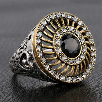 Chic Rhinestoned Faux Gemstone Round Hollow Out Ring For Men