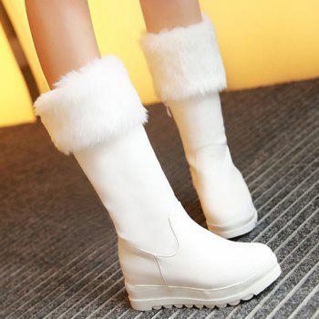 Fashionable Platform and Artificial Fur Design Mid-Calf Boots For Women - WHITE 35