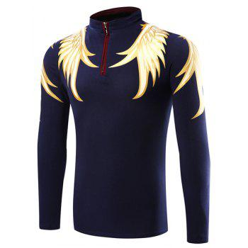 Men's Slim Fit Casual Stand Collar Wing Printed Half Zip Long Sleeve Polo T-Shirt